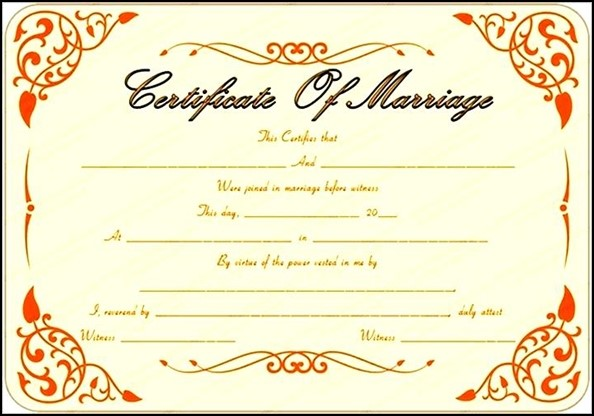 certificate marriage blank sample template templates