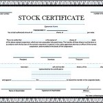 Blank Stock Certificate Template Free