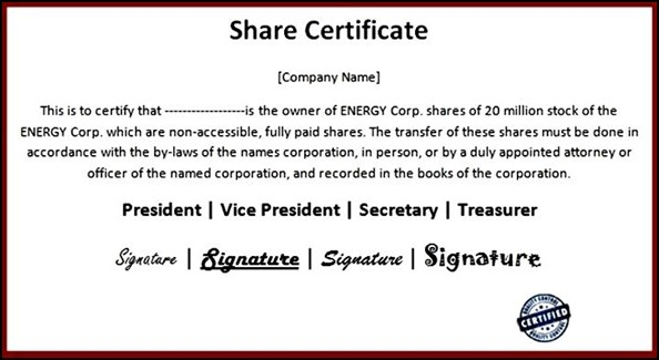 Share Certificate Sample Doc Choice Image   Certificate Design And .  Example Of Share Certificate
