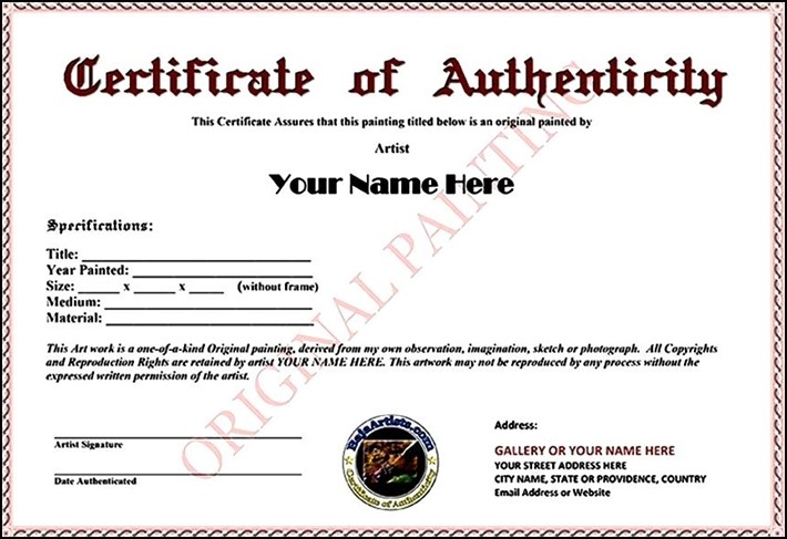Certificate of authenticity example art gallery certificate certificate of authenticity example art image collections certificate of authenticity example art choice image certificate certificate yadclub Choice Image