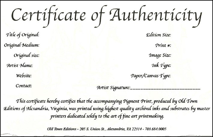 Certificate of authenticity template art free gallery certificate of authenticity template art free choice image yadclub Images