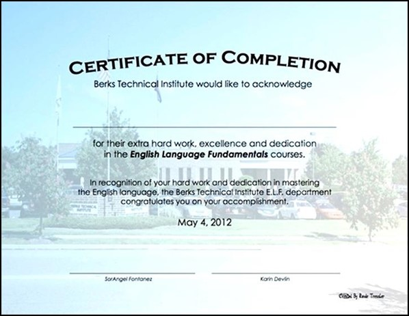 Construction Certificate Of Completion Template