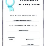 Certificate of Completion Template Free Download Sample