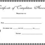 Certificate of Completion Template Free Sample