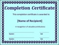 Completion Certificate Word