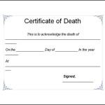 Death Certificate Template Word