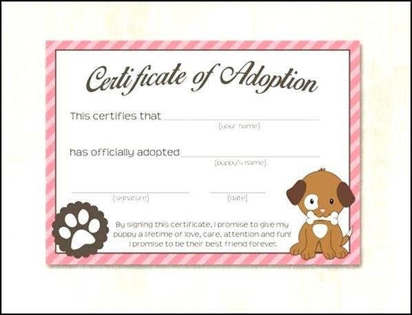 Dog adoption certificate template sample templates sample dog adoption certificate template yadclub Choice Image