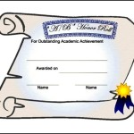 Example Honor Roll Certificate Template