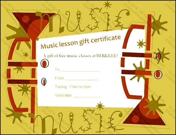 Example Music Gift Certificate Template