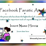 Facebook Fanatic Award Funny Certificate Template