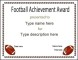 Football Award Certificate Template Blank