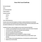 Free Honor Roll Award Certificate Template Word