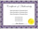 Free Printable Authenticity Certificate Template