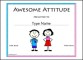 Free Printable Awesome Attitude Award School Certificates