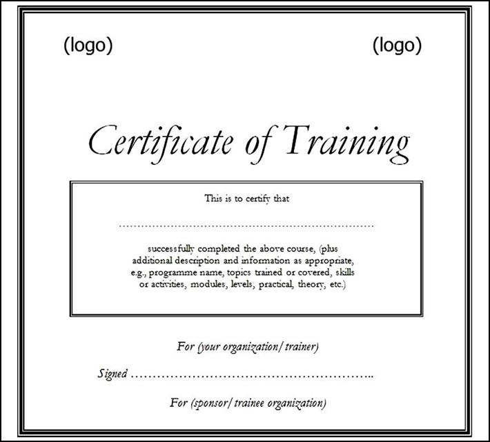 Free printable training certificate template doc sample templates free printable training certificate template doc yadclub Choice Image