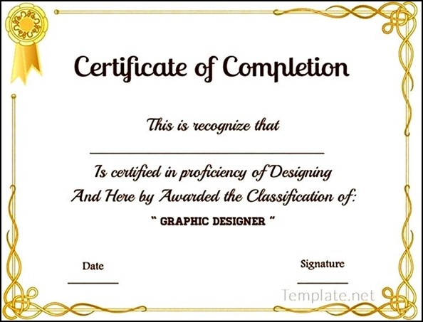 graphic designer course completion certificate sample