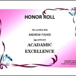 High Honor Roll Certificate Template