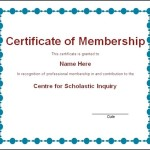 Membership Certificate Template Word