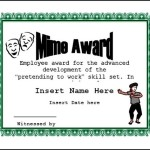Mime Award Funny Certificate Template Printable