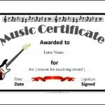 Music Certificate Template PDF