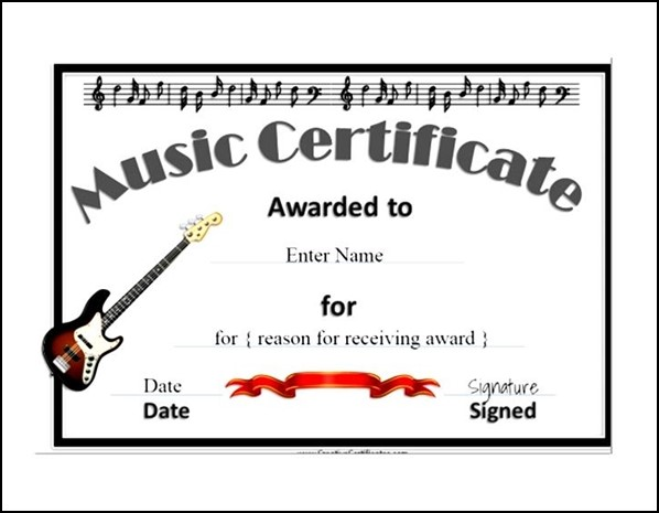 Music Certificate Templates