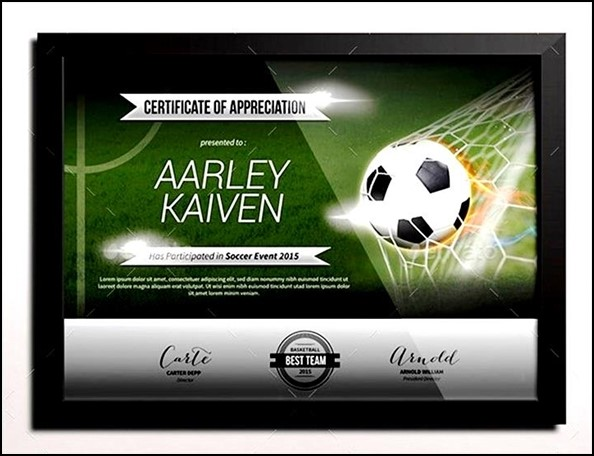 Lovely Football Certificate Templates Ideas  Example Business