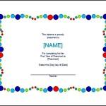 Preschool Certificate Template Word