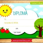 Preschool Graduation or Kindergarten Diploma Certificate