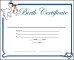 Printable Baby Birth Certificate