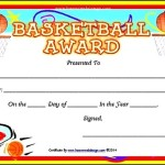 Printable Basketball Certificate Sample