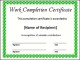 Printable Completion Certificate Template