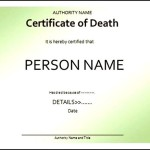 Printable Fake Death Certificate Template Sample
