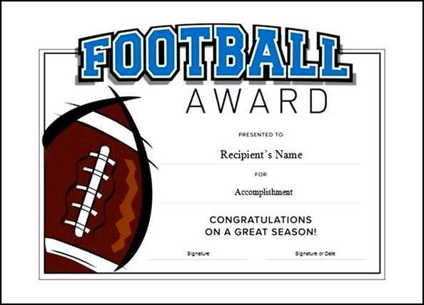 Printable Football Award Certificate Template Free Sample