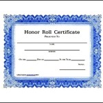 Printable School Honor roll Certificate Template