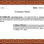 Printable Stock Certificate Template PDF