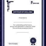 Sample Certificate of Excellence Template