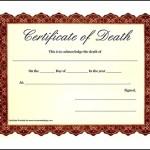 Sample Death Certificate Template