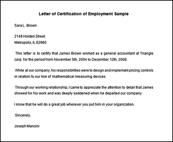 Employment Certificate Sample  OloschurchtpCom