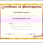 Sample Music Participation Certificate Template