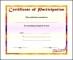 Sample Music Participation Certificate Template