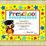 Sample Preschool Completion Certificate