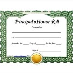 Sample Principals Honor Roll Certificate Template