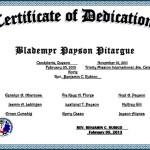 Sample of Baby Dedication Certificate