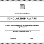 Scholarship Award Certificate Template in Doc File
