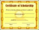 Scholarship Certificate Template Free Design