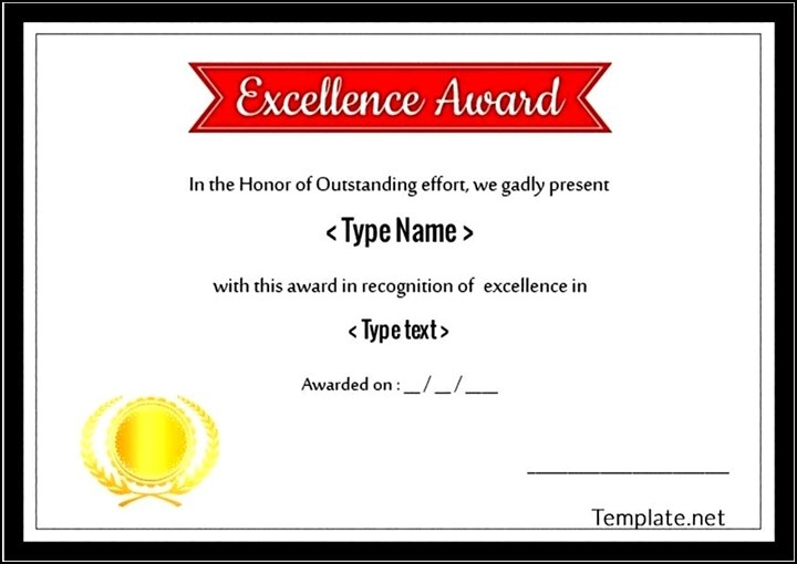 Simple Excellence Award Certificate AI Format - Sample ...