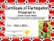 Soccer Certificate of Completion