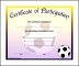 Soccer Participation Certificate Word Format