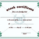 Stock Certificate Template Example
