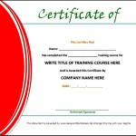Training Certificate Template Doc Sample